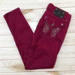 Miss Me raspberry skinny flap pocket jeans